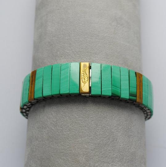 Bracelet extensible en malachite