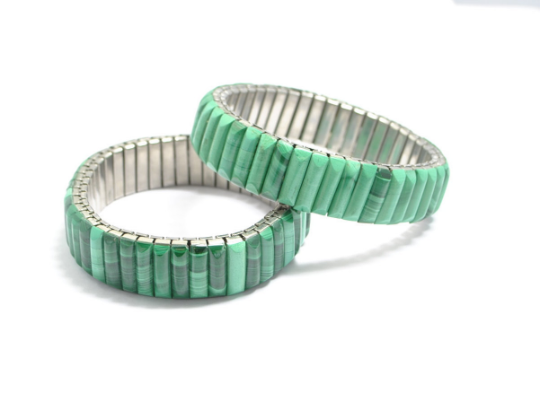 Bracelet extensible vintage en malachite