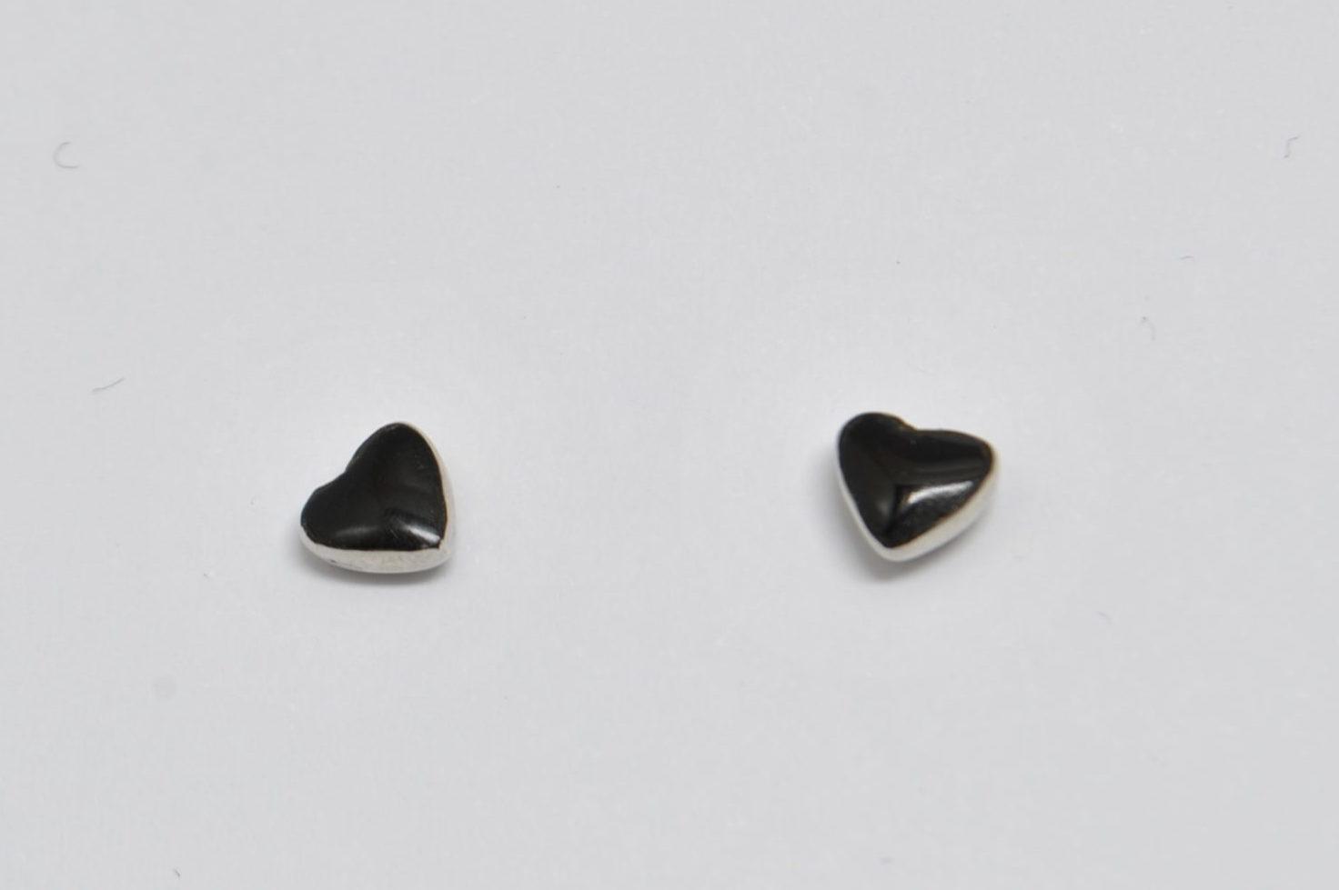 Boucles d'oreilles coeur en onyx