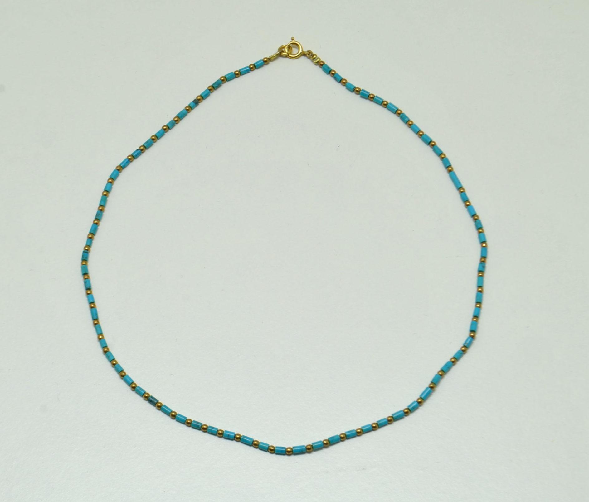 Collier turquoise et doré