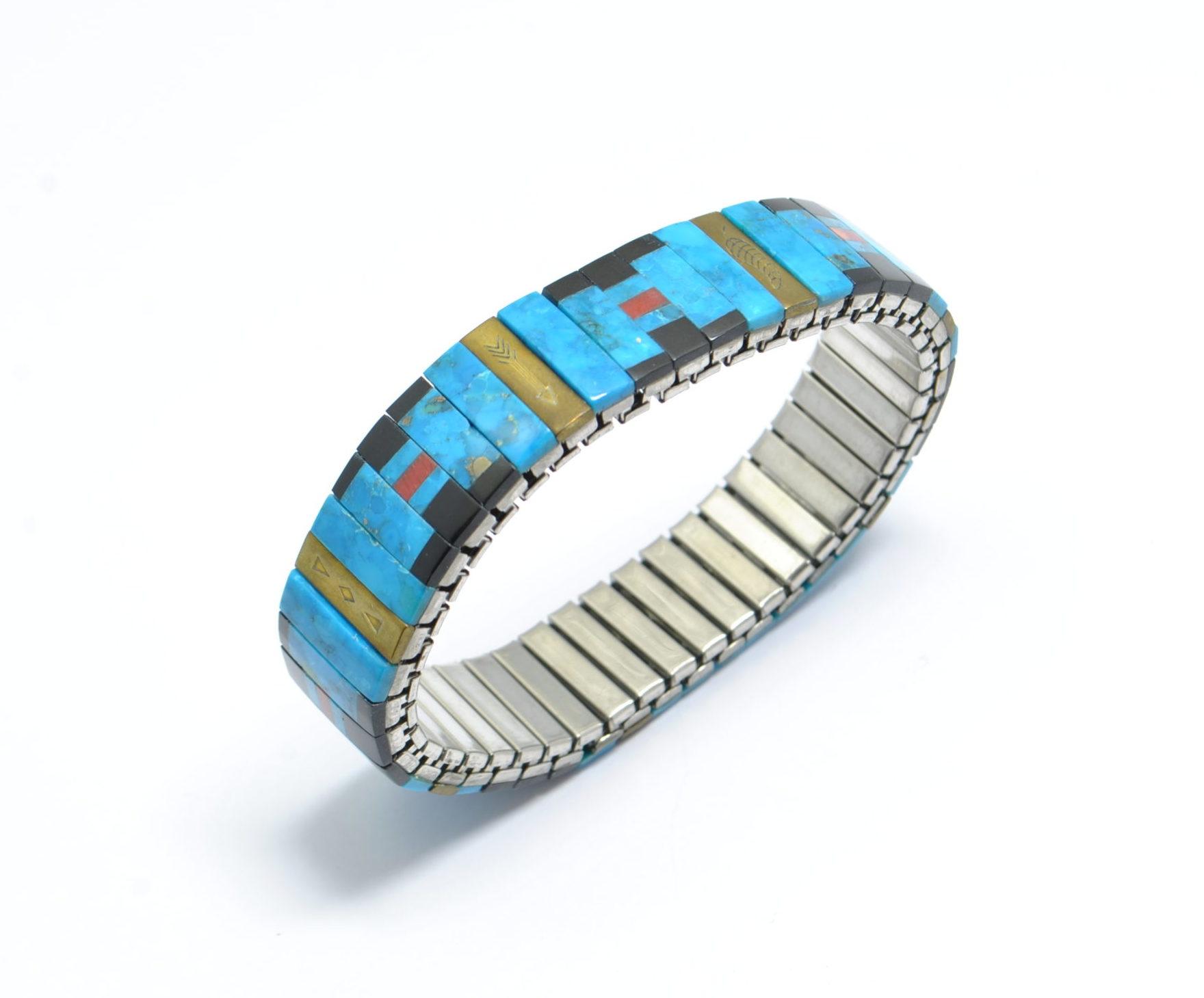 Bracelet élastique turquoise